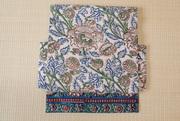 インド更紗二部式帯 ブルー